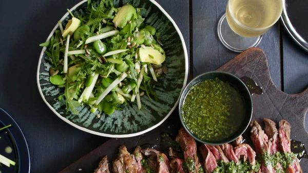 Jacqueline Alwill's summer green salad with broad beans, green apple and mint recipe for BeefandLamb.com.au