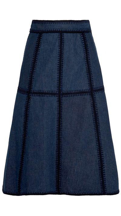 <p>The denim midi-skirt</p>