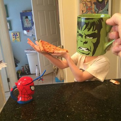 Hulk smash (a slice of pizza). (Instagram)