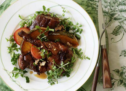 Crisp duck, pumpkin and plum salad