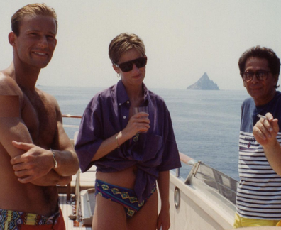 Diana on a yacht with designer friends
