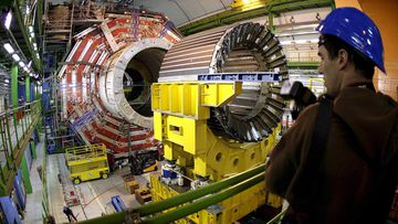 Officials at the world's largest particle accelerator have suspended   The magnet core of the world's largest superconducting solenoid magnet at the European Organisation for Nuclear Research (CERN)'s Large Hadron Collider particule accelerator in Geneva, Switzerland.