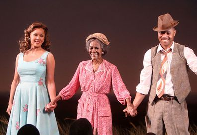 "Vanessa Williams, Cicely Tyson and Cuba Gooding Jr. take the Opening Night curtain call for ""The Trip To Bountiful"" at The Stephen Sondheim Theatre on April 23, 2013 in New York City."