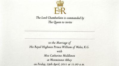 "The Queen sends out wedding invitations.<span style=""white-space: pre;"">	</span>"