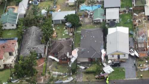 Homes were damaged, powerlines downed and trees knocked over as the storm hit Kurnell. (Westpac rescue helicopter)