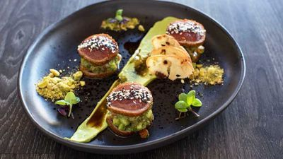 Tuna carpaccio 'la zingara' with avocado, sesame seeds and bottarga