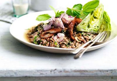"Recipe:&nbsp;<a href=""/recipes/imince/8301441/larb-ped-minced-duck-salad"" target=""_top"" draggable=""false"">Larb ped (minced duck salad)</a>"