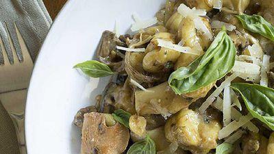 "Recipe:<a href=""/2016/05/05/14/18/mushroom-and-hazelnut-gnocchi-with-manchego-and-basil"" target=""_top"">Mushroom and hazelnut gnocchi with manchego and basil</a>"