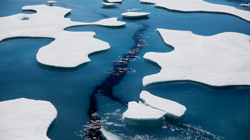 Sea ice breaks apart as the Finnish icebreaker MSV Nordica traverses the Northwest Passage through the Victoria Strait in the Canadian Arctic Archipelago Friday, July 21, 2017. (AP Photo/David Goldman)
