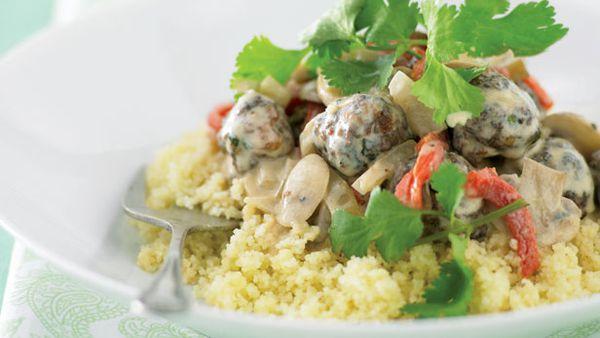 Moroccan meatballs with mushroom sauce