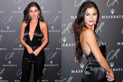 Selena opted for a playful black silk romper.