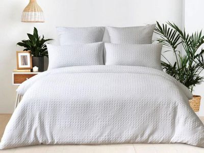 KOO Grace Waffle Quilt Cover Set White (King) — Spotlight