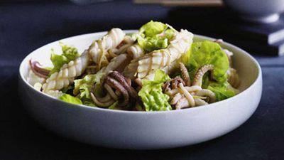 "<a href=""http://kitchen.nine.com.au/2016/05/17/14/57/calamari-salad-with-torn-lettuce"" target=""_top"">Calamari salad with torn lettuce</a> recipe"
