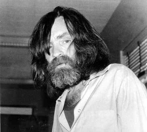 In this June 10, 1981 file photo, convicted murderer Charles Manson is photographed during an interview with television talk show host Tom Snyder in a medical facility in Vacaville, Calif.