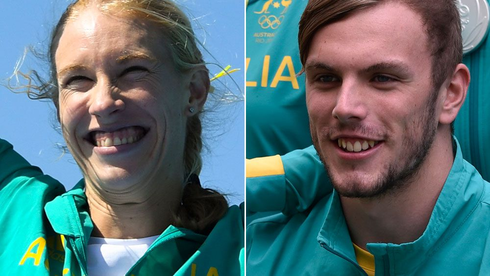 Kim Brennan (l) and Kyle Chalmers (r). (AAP)