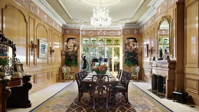 The formal dining room featured intricate plasterwork and marble detailing. (Supplied, Kay and Burton Real Estate)
