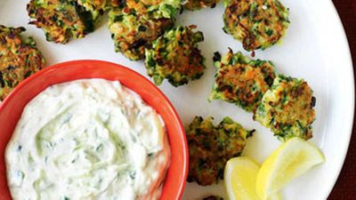 "Recipe:<a href=""http://kitchen.nine.com.au/2016/05/19/12/56/zucchini-fritters-with-tzatziki"" target=""_top""> Zucchini fritters with tzatziki</a>"