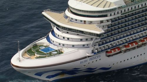 The Ruby Princess cruise ship off the coast of Sydney.