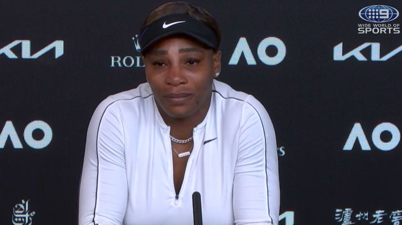 Serena Williams is brought to tears in her press conference.