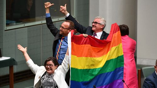 Crossbenchers Cathy McGowan, Adam Brandt and Andrew Wilkie wave a flag to celebrate the passing. (AAP)