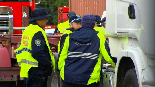 Police inspected 30 trucks at Owens Transport in Banksmeadow this morning.