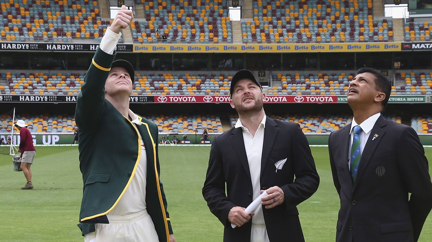 Steve Smith and Brendon McCullum at the toss. (Getty)
