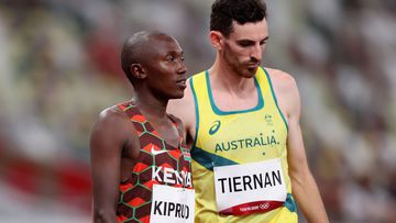 TOKYO, JAPAN - JULY 30:  Rhonex Kipruto of Team Kenya and Patrick Tiernan of Team Australia prepares to compete in the Men's 10,000m Final on day seven of the Tokyo 2020 Olympic Games at Olympic Stadium on July 30, 2021 in Tokyo, Japan. (Photo by Christian Petersen/Getty Images)