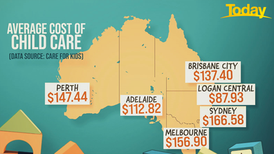 The average cost of child care in each state.
