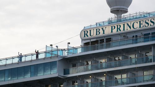 The Ruby Princess departing Port Kembla, NSW, with its remaining crew on April 23.