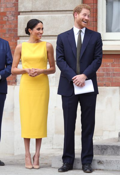 The Duchess of Sussex in&nbsp;Brandon Maxwell at the 'Your Commonwealth' Youth Challenge Reception, London, July, 2018<br> <br> <br>
