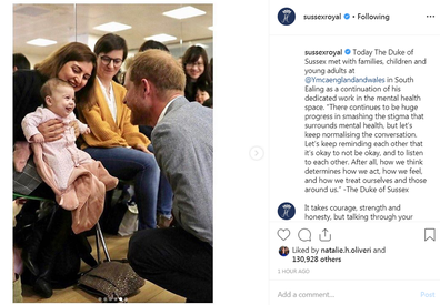 Prince Harry shared the special moment on his and Meghan's new Instagram account.
