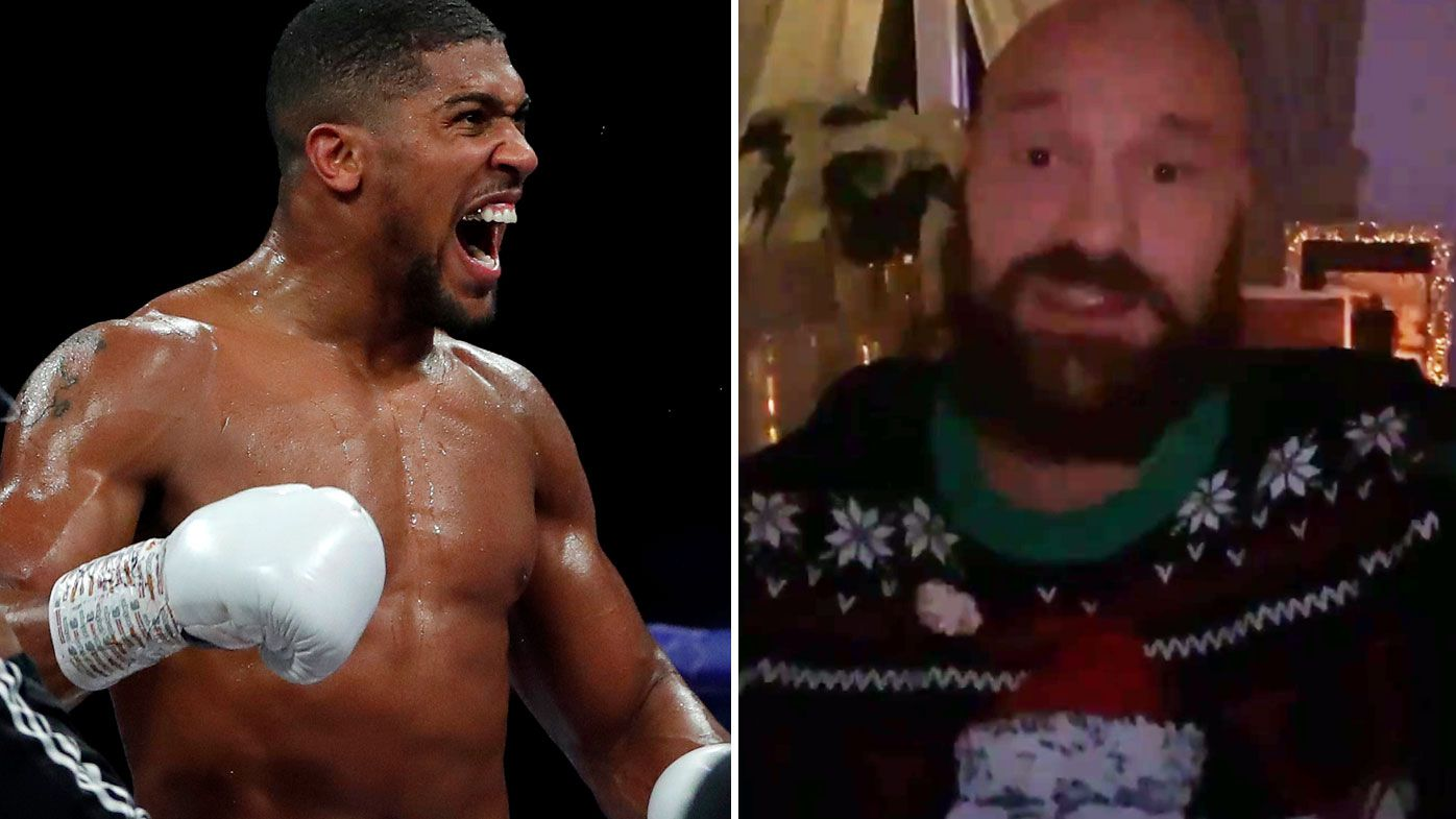 Tyson Fury calls out Anthony Joshua for unification heavyweight fight. (Getty/Twitter)