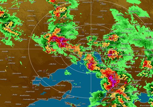 The BoM radar as of 5pm yesterday around Melbourne.