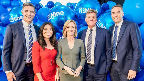 Tracy Vo (left) with 'Thommo' and members of the 9News Perth team.