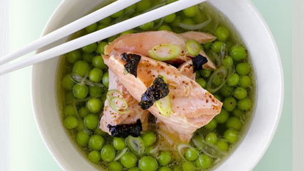 Ocean trout and pea broth
