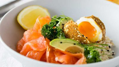 "Recipe:&nbsp;<a href=""http://kitchen.nine.com.au/2016/10/19/15/22/cold-smoked-salmon-breakfast-bowl"" target=""_top"">Cold smoked salmon and dukkah eggs bowl</a>"