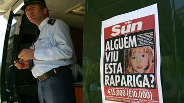 A poster on a police van reads 'Has anyone seen this girl?' on May 7, 2007 in Praia da Luz, Portugal. Three-year-old Madeleine McCann disappeared May 3 from her bedroom in the family's holiday apartment while her parents were dining at a nearby restaurant.