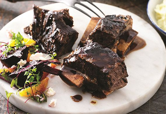 Balsamic-glazed beef chuck ribs