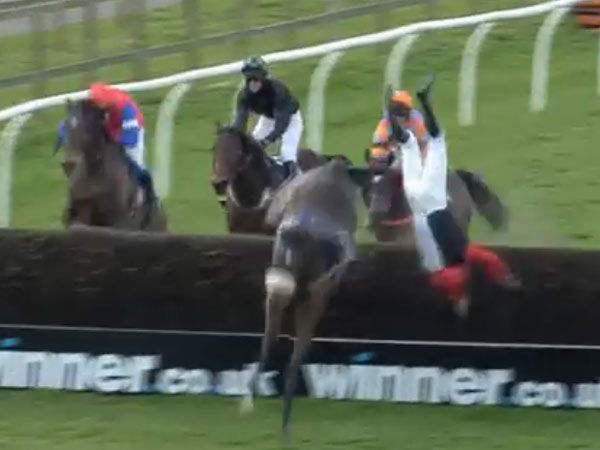 Steeplechase jockey sent cartwheeling
