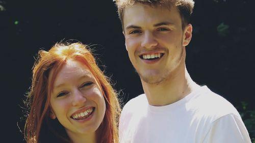 Severine Marcotty with her boyfriend, missing backpacker Theo Hayez.