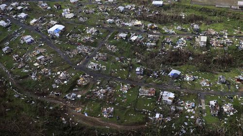 Flattened homes on the island of Puerto Rico in the wake of Hurricane Maria.