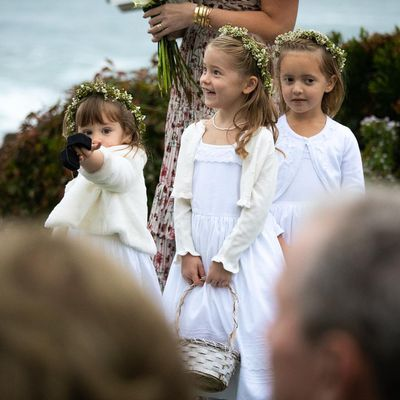 <p>Flower girls and daughters of the bride's twin sister Jenna Bush Hager, Poppy, 3, and Margaret, 5, are pictured with the groom, Craig Coyne's nieceEmma, 5.</p> <p></p>
