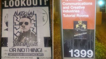 Some of the neo-Nazi group's posters at Charles Sturt University, Bathurst.