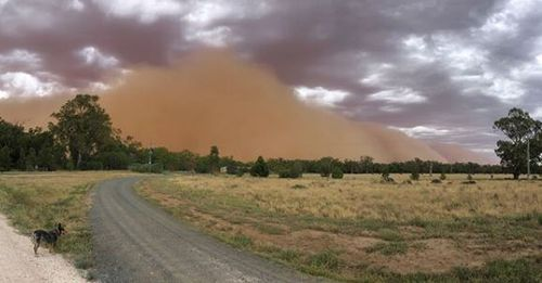 The dust appeared eerily and swallowed whole towns as it swept through this afternoon.