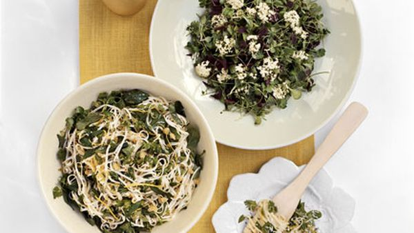 Angelhair pasta with herbs and lemon (pictured left with Baby herb salad with elderflower vinaigrette)