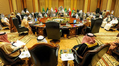 Members of the Gulf Cooperation Council at the meeting in Kuwait. (Photo: AP).