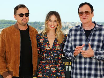 """Leonardo Di Caprio, Margot Robbie and Quentin Tarantino attend the photocall of the movie """"Once Upon a time in Hollywood"""" at Hotel De La Ville in Rome, Italy."""