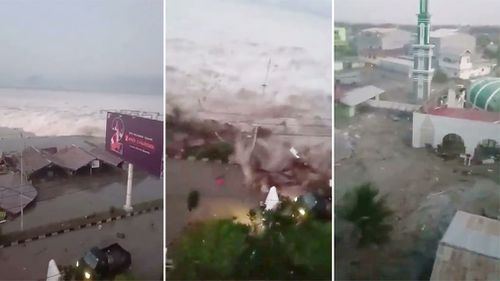 Indonesian TV showed a smartphone video of a powerful wave hitting Palu with people screaming and running in fear. The water smashed into buildings and a large mosque already damaged by the quake.