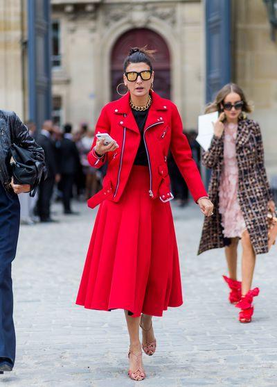 Giovanna Battaglia is perfect in red.