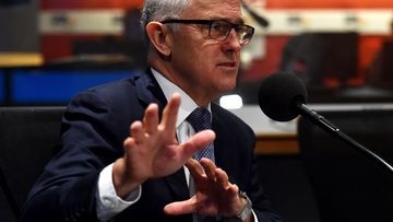 Malcolm Turnbull in the 3AW studios in Melbourne. (AAP)